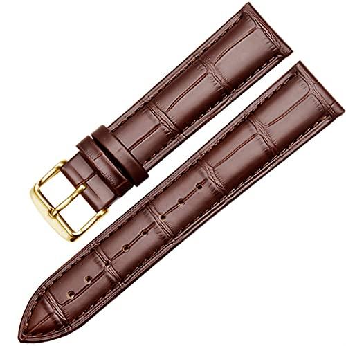 DFKai1run Reloj Correa de Cuero, Correa de Cuero Genuino 12 14 15 16 18 19 20 21 22 23 Pulsera marrón Negra de 24 mm Hombre y Cadena de Relojes Femenino Casual (Color : Brown Golda, Size : 18mm)