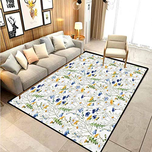 Floral Roses Decor Rugs for entryway Large Area Rugs Poppies and Daisies Floral Printing Wild Flowers Watercolor Painting Chair mat for Carpet Yellow White Navy Blue Green 5 x 6 Ft