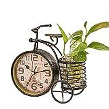 S.W.H Reloj de escritorio de bicicleta de moda creativo hierro metal silencioso mesa reloj sala dormitorio decoración