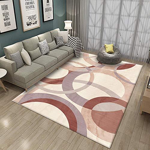 YQZS Alfombra para Dormitorio Alfombras Geométricas Modernas Arco Rojo Ladrillo Sensación Suave Y Construcción Compacta con,140X200Cm(55X79Inch)