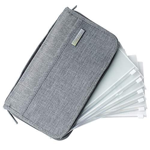 SORASION パスポートケース 家計管理 ケース クリアファイル 【 リフィル 6枚 付き 】 パスポートカバー 通帳ケース (グレー)