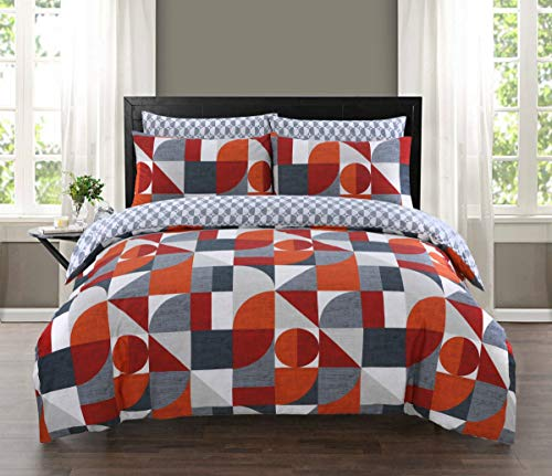 Every Thread Counts 100% Cotton Reversibe Printed Duvet Cover Set (Geometric Multi, Double)