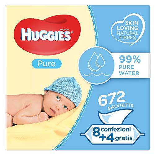 Huggies Pure Salviette Umidificate per Bambini, 12 Pacchi da 56 Pezzi