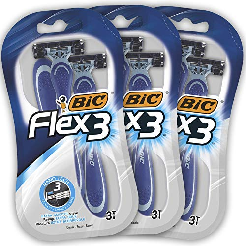 BIC Flex3 Maquinillas Desechables para Hombre - Paquete de 3 Packs de 3