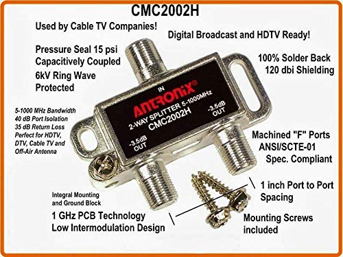 Antronix CMC2002H 2-Way- (5) Pack - Horizontal Splitter (2) -3.5db Ports 5-1002 MHz High Performance Profession Quality for Coax Cable TV & Internet Factory Sealed with Screws