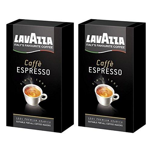 Lavazza Kaffee Espresso 100% Arabica, gemahlener Bohnenkaffee, (2 x 250g Packung)