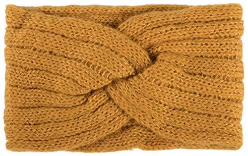 styleBREAKER Damen Strick Stirnband mit Rippen Muster, Twist Knoten, warmes Winter Haarband, Headband 04026041, Farbe:Curry