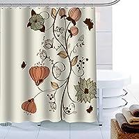 フックポリエステル生地のヨーロッパフラワーシャワーカーテン3Dプリントバスルームカーテン防水バスカーテンの装飾-A_W90cmxH180cm