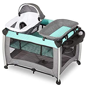 Dream On Me Princeton Deluxe Playard I Nap 'N pack I Play Yard I Infant Bassinet I Compact Fold I Removeable Changing Table I Removable Napper, Mint