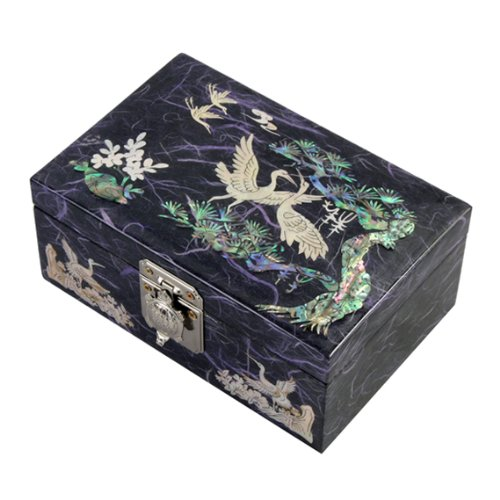 Mère de Pearl Oiseaux et de Pin en bois laqué violet miroir design Arbre à bijoux bijoux Trésor Souvenir cadeau boîte cas poitrine organisateur