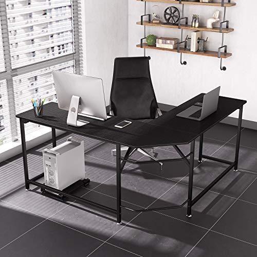 Dripex Holz Schreibtisch, Computertisch Mit L-Form einfache Montage, Eckschreibtisch für PC mit CPU-Ständer, Bürotisch für Arbeitszimmer, Homeoffice