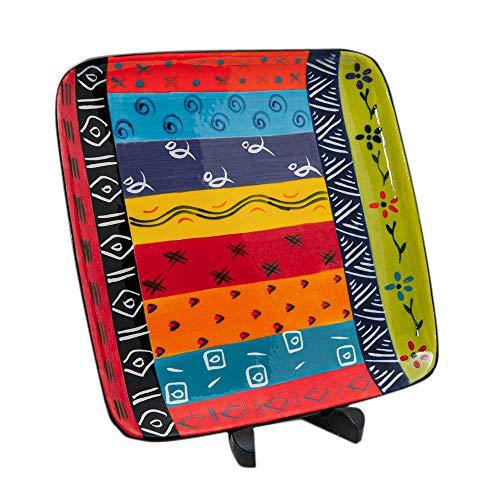 Kapula Handbemaltes Keramik-Teller, quadratisch, Fair Trade, südafrikanisches buntes Ethno-Design, spülmaschinen- und mikrowellengeeignet