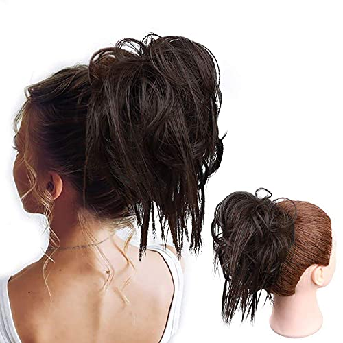 HMD Tousled Updo Messy Bun Hair Piece Hair Bun Extension Ponytail With Elastic Rubber Band Updo Extensions Hairpiece Synthetic Hair Extensions Scrunchies Ponytail Hairpiece for Women.(Dark Brown)
