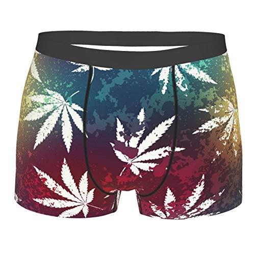 HARLEY BURTON Herren Boxershorts Unterwäsche Cannabis Sativa Hanf Muster Bunt Atmungsaktiv Gr. S, Schwarz