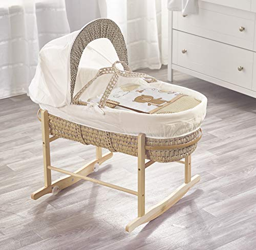 Beary Nice Cream Palm Moses Basket & Natural Rocking Stand
