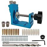 AeKeatDa 47PCS Aluminum Pocket Hole-Jig Kit Woodworking Inclined Hole Positioner for Woodworking Angle Drilling Holes