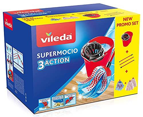 Vileda Supermocio Box Sistema Lavapavimenti, Set con Strizzatore, Secchio, Manico 3 Pezzi, 1 Fiocco 3Action XL, 2 Fiocchi Microfibre & Power, Formato Convenienza