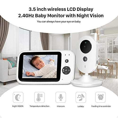 Babyfoon Met Camera, 3,5 Inch Wireless LCD-scherm 2,4 GHz Babyfoon Met Nachtzicht, 2-weg Audio Talk, Built-in 8 Populair/Klassiek Lullabies, Temperatuurcontrole For Babykamers