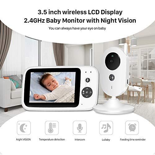 Babyfoon Met Camera, 3,5 Inch Wireless LCD-scherm 2,4 GHz Babyfoon Met Nachtzicht, 2-weg Audio Talk, Built-in 8 Populair/Klassiek Lullabies, Temperatuurcontrole For Babykamers