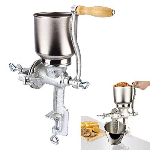 Getreidemühle aus Gusseisen, Einstellbare Handgetreidemühle Handkaffeemühle Kornmühle Handmühle Mohnmühle Schrotmühle Kaffeemühle Nussmühle Mühle für Cerealien, Kerne und Samen