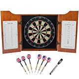 Deluxe Solid Wood Dartboard Cabinet Set with Bristle...