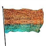 Bandera Bandera Amarillo Y Verde Lago Árboles Reflejo Color Vivo Color Y Desvanecimiento Antideslar Bandera - Casa Jardín Bandera Patio Interior Interior Decorativo Banner 90X150 Cm