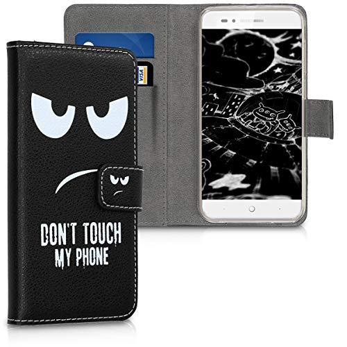 kwmobile ZTE Blade A612 Hülle - Kunstleder Wallet Case für ZTE Blade A612 mit Kartenfächern & Stand - Don't Touch My Phone Design Weiß Schwarz