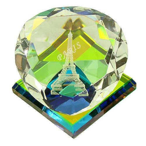 Souvenirs de France - Coeur Tour Eiffel en Verre - Transparent (4.8 x 4.8 x 3.8 cm)