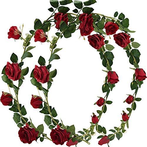 FiveSeasonStuff 2 Pcs Artificial Silk Rose Garland Vine Plant Flower Leaves (4.4m / 173 inches) Perfect for Wall Decoration, Wedding, Bridal(Cream White)