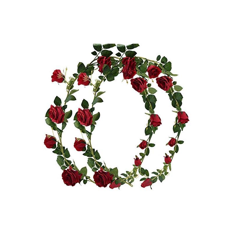 silk flower arrangements fiveseasonstuff artificial flower garland decorations for hanging, rose silk floral garlands, bendable vines (class rose red 2pcs 13.2 feet)