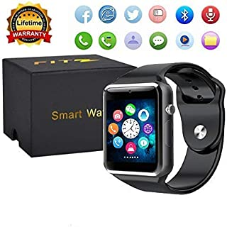 Sport Touch Screen Smartwatch Waterproof Bluetooth Smart Watch Phone with Camera Pedometer Sleep Monitor Music Player for iPhone/iOS/iPhone/Samsung/Android (A1Black)