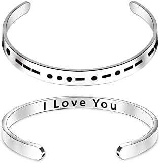 Morse Code Bracelets for Women Encouragement Mantra Stainless Steel Cuff Bangle Secret Message Inspirational Gifts for Her