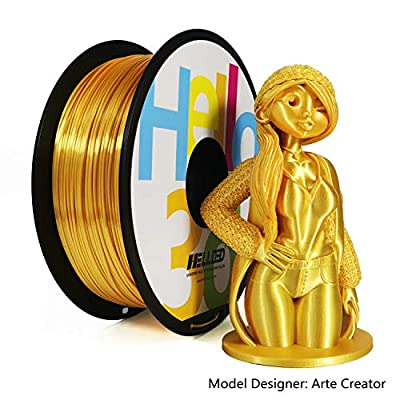 Hello3D Silk PLA Filament 1.75mm, OEM 3D Printer Filament Silk Filament, Silky Shiny Filament PLA for 3D Printers and Pens, 1KG (2.2Lbs) 1 Spool (Silk Gold)