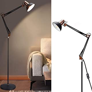 Depuley Lampadaire LED rétro en métal - Pivotant - 1 ampoule - Réglable en hauteur - Culot E27 max. 60 W - Lampe de lectur...