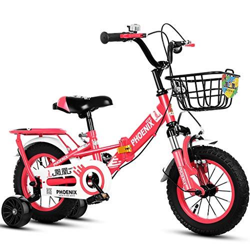 JG - Bicicletta pieghevole per bambini, 12/14/16/18/20 pollici, per bambini e ragazze, per bambini dai 2 ai 16 anni, 4 colori (colore : D, dimensioni: 16')