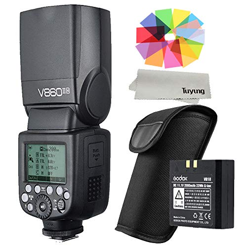 Godox V860II-N - Kit di flash per fotocamera agli ioni di litio, 2,4 G, senza fili, Master&Slave TTL Speedlite per fotocamera Nikon DSLR