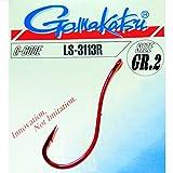 Gamakatsu Hook LS-3113R red - Angelhaken zum Aalangeln, Brandungsangeln, Haken für Würmer, Wurmhaken, Meereshaken für Naturköder, Größe/Packungsinhalt:Gr. 2/25 Stück