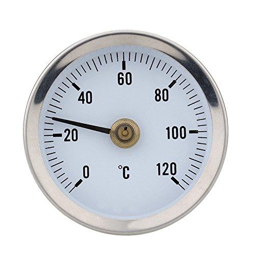 Domybest 0–120 ° Clip-On Pipe Thermomètre Tube en acier inoxydable 6.3 cm Jauge de température avec ressort