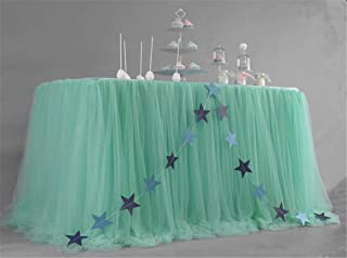 Tulle Table Skirt Tablecloth To The Wedding Decor Birthday Party Baby Shower Chiffon Gauze Bridal Veil Tiffany Blue