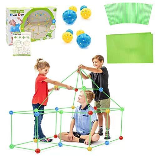 Kids Fort Builder,Kinder Forts Bauspielzeug,DIY-Bauspielzeug,Zelte,Bauen Sie Ihre eigene Höhle Kit,DIY Gebäude Schlösser Tunnel Zelt,Rakete und Spielset,Fort Bausatz,Bauen Sie Schlösser (Grün)