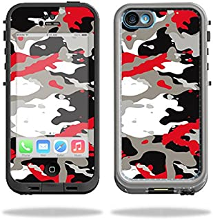MightySkins Protective Vinyl Skin Decal Compatible with LifeProof iPhone 5C Case fre Case wrap Cover Sticker Skins Red Camo