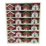 キッズ クリスマス 木製クリスマスアドベントカレンダーカウントダウン 家の装飾24個のキャンディーボックス 10インチ 16インチ 2インチ