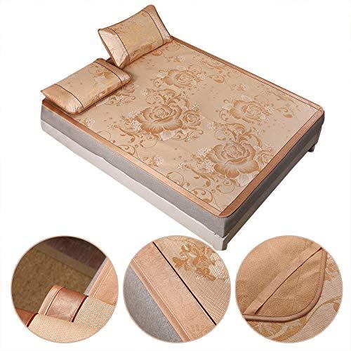 Zomer vouwmat, driedelig zomerijs Zijde afdrukken Koelmat Matras Opvouwbare lakens Slaapmatenset - Dubbelzijdig vouwen(90 * 195cm pillowcase: 48 * 74cm * 1)