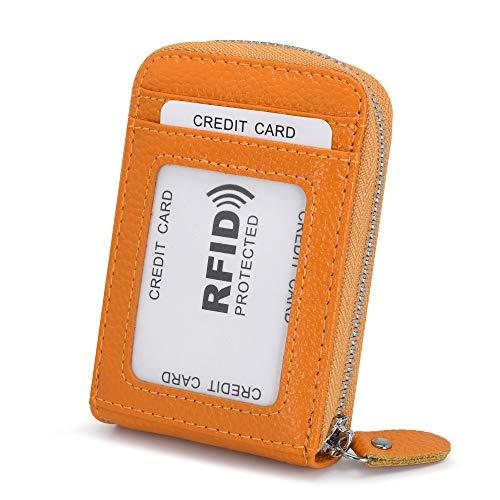 Tarjeteros para Tarjetas de Credito Mujer Hombre Piel con Cremallera Alrededor con el Bolsillo de la Moneda RFID Cuero Tarjeteros Pequeños de Visita (Amarillo)