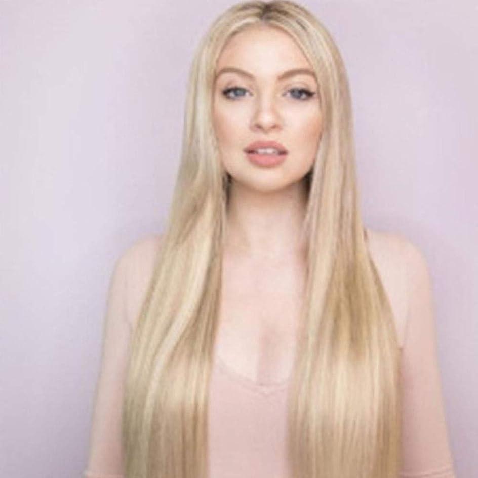 鉄人類ニュースYrattary ブロンドのグラデーションロングストレートウィッグ女性のための手編みのかつら合成の髪のレースのかつらロールプレイングかつら (色 : Blonde)