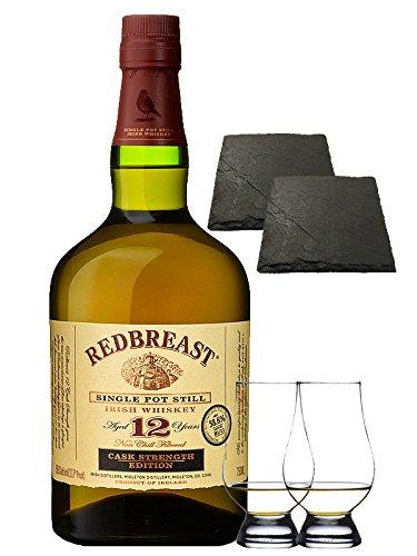 Redbreast 12 Jahre Cask Strenght 0,7 Liter + 2 Glencairn Gläser + 2 Schiefer Glasuntersetzer 9,5 cm