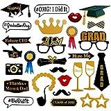 Mengxin 28 Piezas Graduation Photo Booth Props Graduación Universidad 2021 Sombrero Gafas Bigote DIY Kit Manualidades para Fiesta Regalos de Graduación Decoraciones de Fiesta