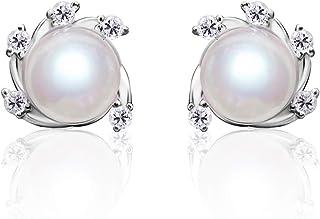Pearl Earrings for Women 8-8.5mm Freshwater Cultured Pearl Stud Earrings 925 Sterling Silver
