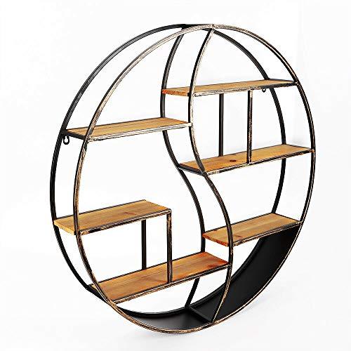 Mensola da parete in metallo, stile vintage, rotonda, da appendere alla parete, in legno, libreria (80 cm)