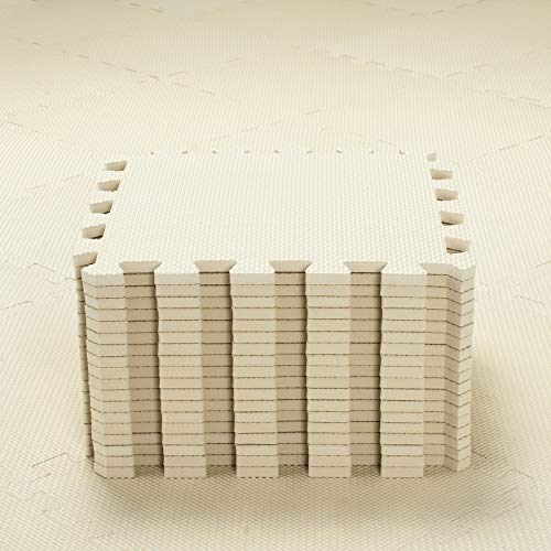 qqpp Alfombra Puzzle para Niños Bebe Infantil - Suelo de Goma EVA Suave. 18 Piezas (30 * 30 * 1cm), Beige.QQC-Jb18N